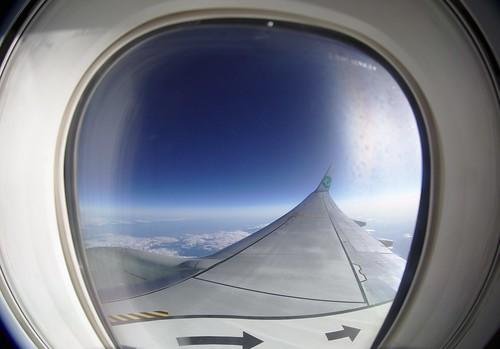 Vliegtuig uitzicht met A tot Z reizen